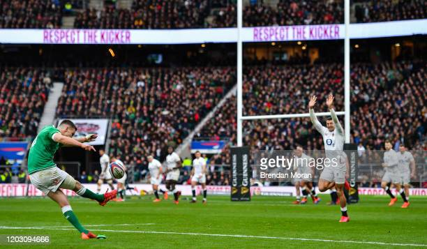London , United Kingdom - 23 February 2020; Jonathan Sexton of Ireland kicks a conversion, which subsequently went wide, during the Guinness Six...