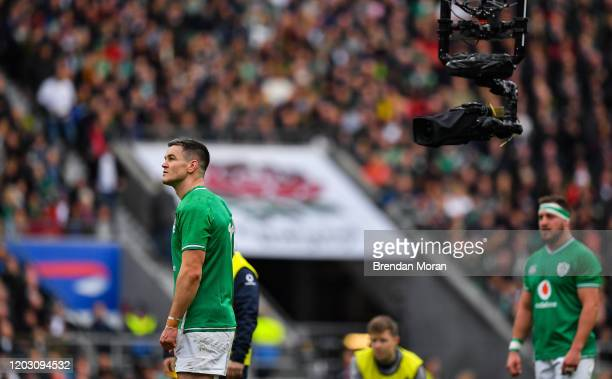 London , United Kingdom - 23 February 2020; Jonathan Sexton of Ireland is filmed by a tv camera during the Guinness Six Nations Rugby Championship...