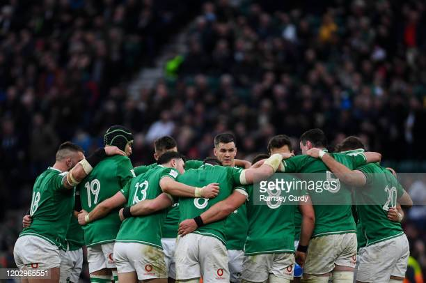 London , United Kingdom - 23 February 2020; Jonathan Sexton speaks to his team-mates following the Guinness Six Nations Rugby Championship match...
