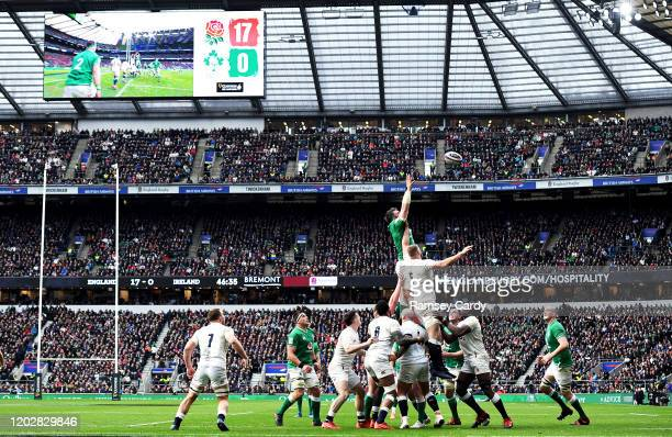 London , United Kingdom - 23 February 2020; Peter O'Mahony of Ireland and George Kruis of England contest a line-out during the Guinness Six Nations...