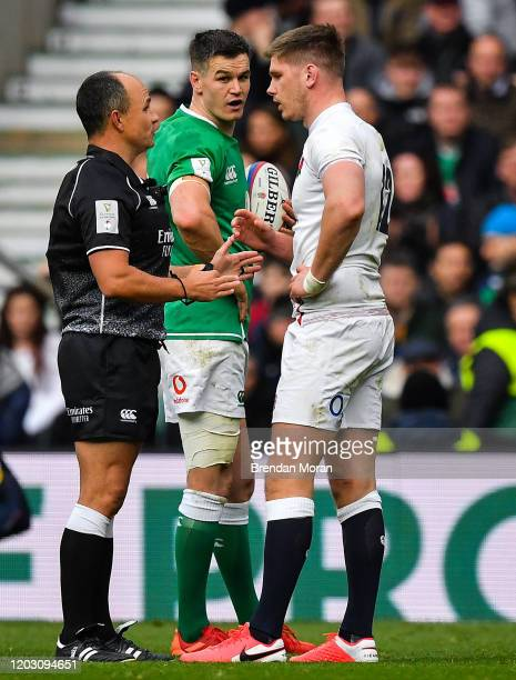 London , United Kingdom - 23 February 2020; Referee Jaco Peyper speaks to Owen Farrell of England during the Guinness Six Nations Rugby Championship...