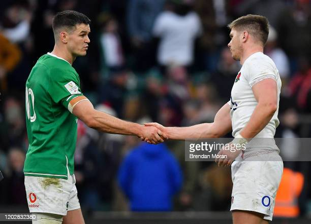 London , United Kingdom - 23 February 2020; Team captains Jonathan Sexton of Ireland, left, and Owen Farrell of England shake hands after the...