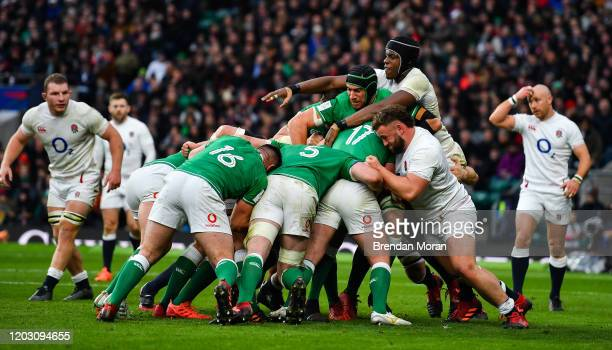 London , United Kingdom - 23 February 2020; Ultan Dillane of Ireland controls a maul from Maro Itoje of England during the Guinness Six Nations Rugby...