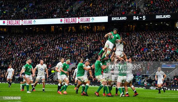 London , United Kingdom - 23 February 2020; Ultan Dillane of Ireland wins a lineout from Maro Itoje of England during the Guinness Six Nations Rugby...