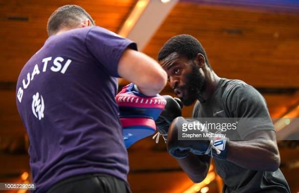 London United Kingdom 25 July 2018 Joshua Buatsi during a public workout event at Westfield Stratford City prior his vacant WBA International...