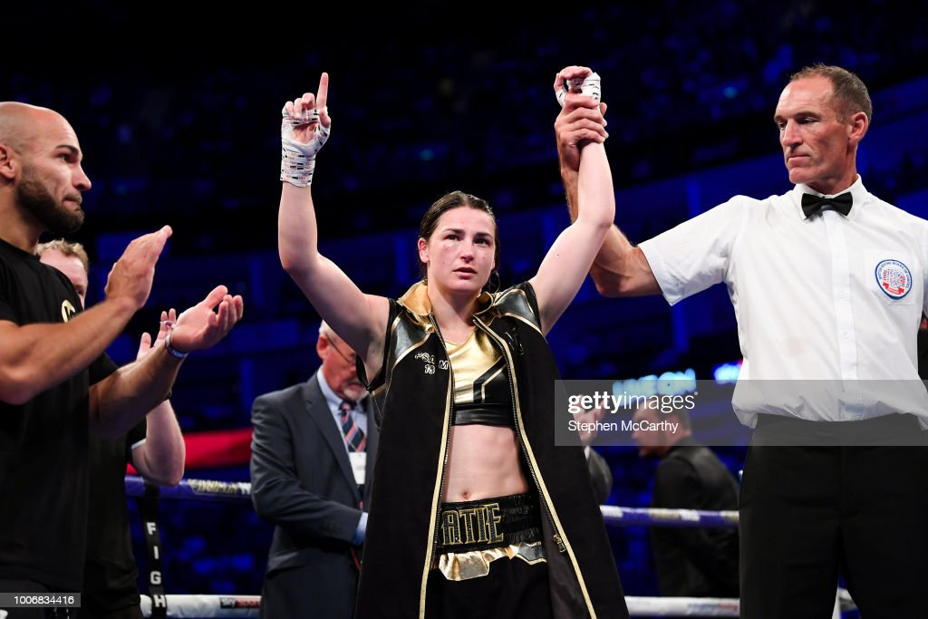 London , United Kingdom - 28 July 2018; Katie Taylor celebrates following her WBA & IBF World Lightweight Championship bout with Kimberly Connor at The O2 Arena in London, England.