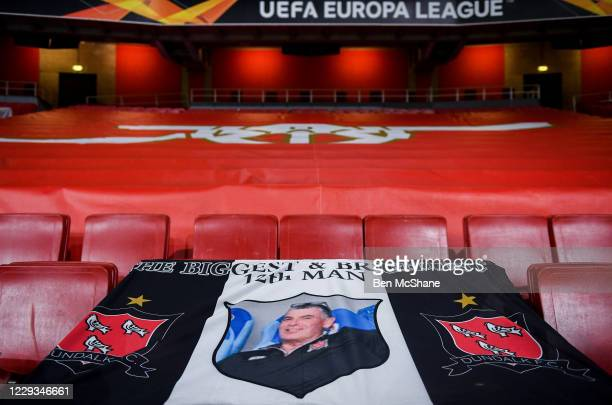 London United Kingdom 29 October 2020 A banner in commemoration to the late Dundalk team videographer Harry Taaffe in the stadium prior to the UEFA...