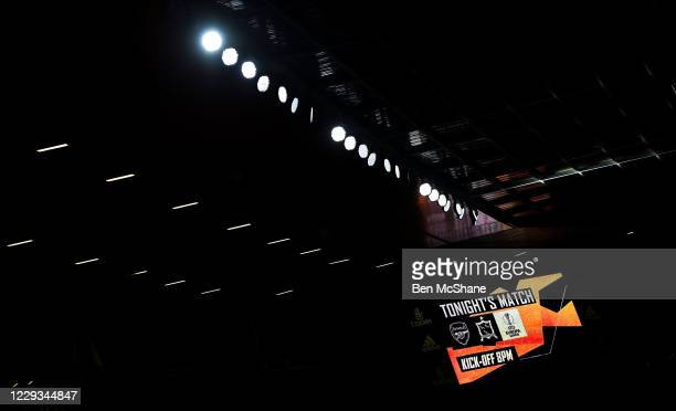 London United Kingdom 29 October 2020 A general view the scoreboard in the stadium prior to the UEFA Europa League Group B match between Arsenal and...
