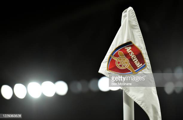 London , United Kingdom - 29 October 2020; The Arsenal crest is seen on a corner flag ahead of the UEFA Europa League Group B match between Arsenal...