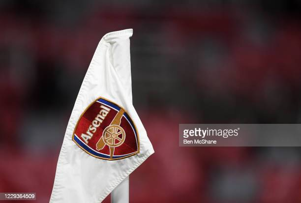 London , United Kingdom - 29 October 2020; The Arsenal crest is seen on a corner flag during the UEFA Europa League Group B match between Arsenal and...