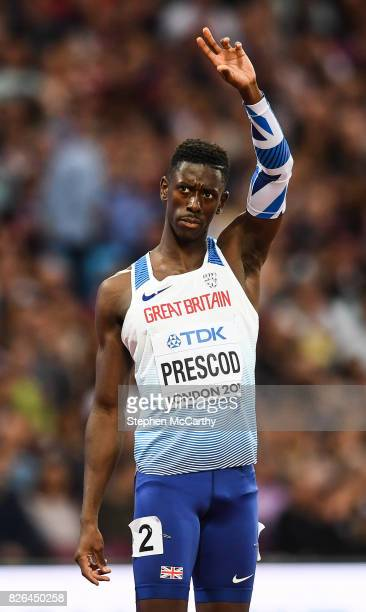 London United Kingdom 4 August 2017 Reece Prescod of Great Britain competes in round one of the Men's 100m event during day one of the 16th IAAF...