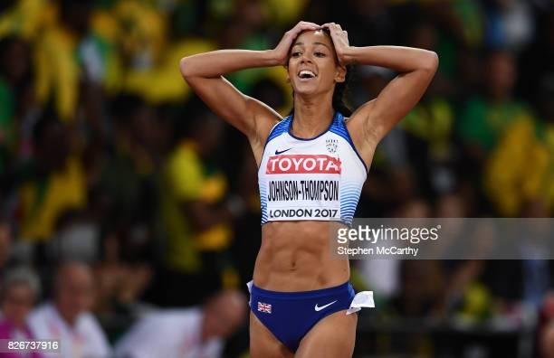 London United Kingdom 5 August 2017 Katarina JohnsonThompson of Great Britain following the 200m of the Women's Heptathlon event during day two of...