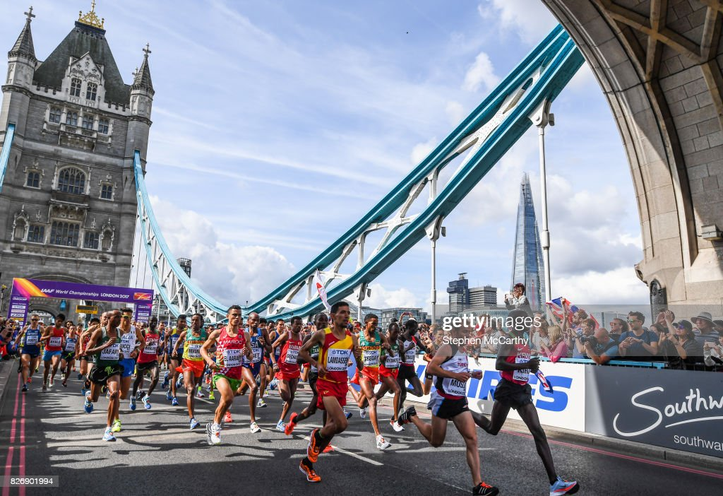 London , United Kingdom - 6 August 2017; Athletes compete in the Men's Marathon event during day three of the 16th IAAF World Athletics Championships at Tower Bridge in London, England.