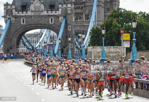 London United Kingdom 6 August 2017 Competitors in the Women's Marathon event Tower Bridge during day three of the 16th IAAF World Athletics...