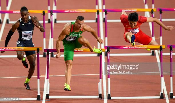 London United Kingdom 6 August 2017 Eddie Lovett of the Virgin Islands Balázs Baji of Hungary and Wenjun Xie of China competes in the semifinals of...