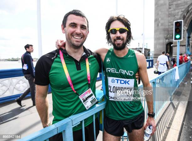 London United Kingdom 6 August 2017 Mick Clohissey of Ireland with Team Physiotherapist Declan Monaghan following the Men's Marathon event during day...
