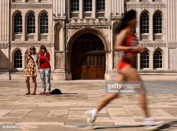 London United Kingdom 6 August 2017 Spectators urge on athletes during day three of the 16th IAAF World Athletics Championships at Guildhall in...
