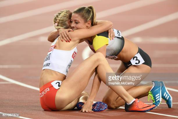 London United Kingdom 7 August 2017 Iga Baumgart of Poland and Ruth Sophia Spelmeyer of Germany following their semifinal of the Women's 400m event...