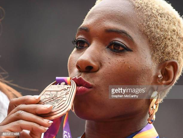 London United Kingdom 7 August 2017 Yarisley Silva of Cuba after receiving her Women's Pole Vault bronze medal during day four of the 16th IAAF World...