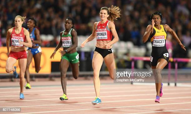 London United Kingdom 8 August 2017 Ristananna Tracey of Jamaica right and Lea Sprunger of Switzerland during their semifinal of the Women's 400m...