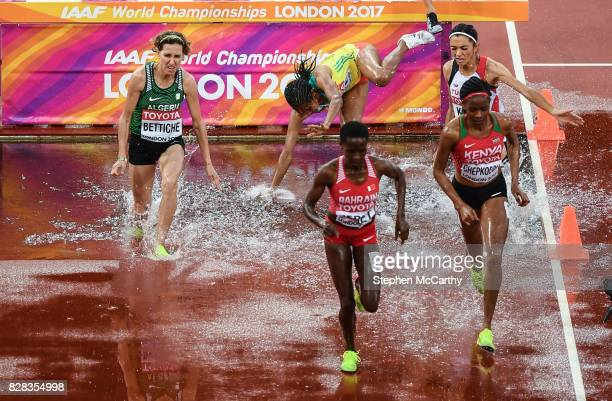 London United Kingdom 9 August 2017 Birtukan Fente of Ethiopia falls into the water during round one of the Women's 3000m Steeplechase event during...