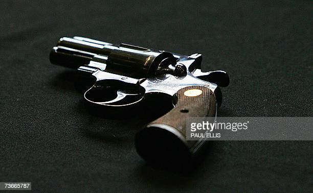 A Colt Python 357 Magnum Revolver is seen at Bonhams auction house during a preview for a vintage fire arms sale in London 22 March 2007 The gun was...