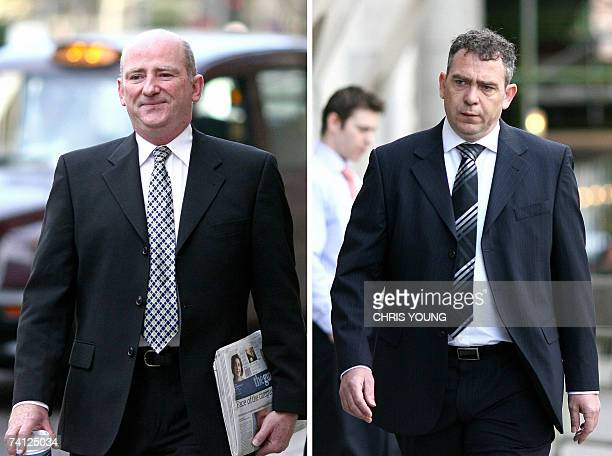 A combination of pictures shows a British civil servant David Keogh and researcher Leo O'Connor arriving at the Central Criminal Court in London 18...