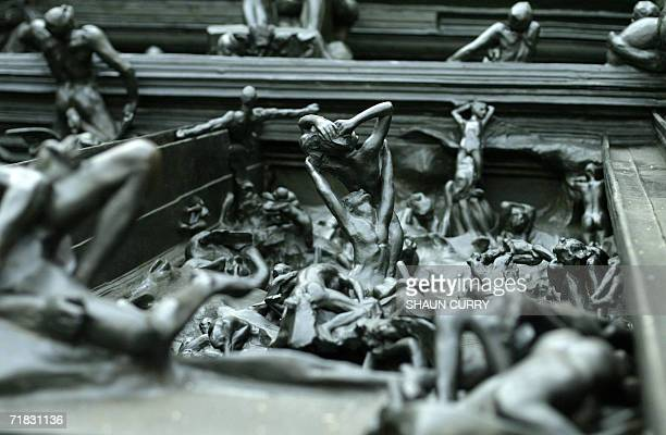 A detail of the sculpture entitled 'The Gates of Hell' by French artist Auguste Rodin while it is delivered to the Royal Academy in London 09...