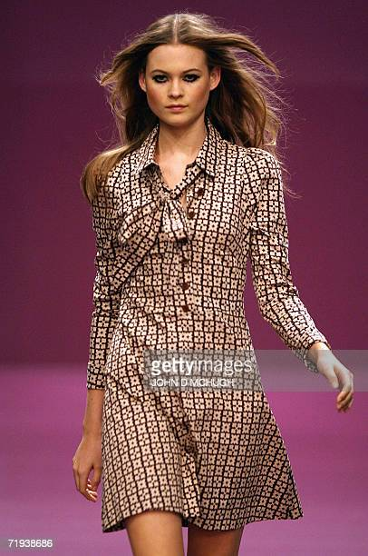 A model presents a creation by British designers Biba at London Fashion Week 19 September 2006 AFP PHOTO / JOHN D MCHUGH