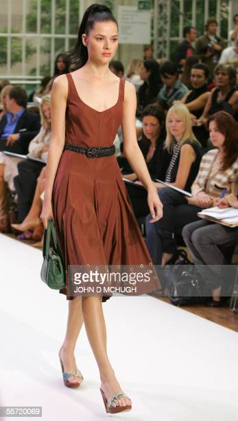 A model shows clothes by British designer Nicole Farhi at the Royal Opera House in London 19 September on the second day of London Fashion Week AFP...