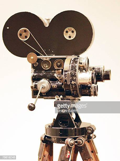 London, UNITED KINGDOM: A personal movie camera used by silent screen legend Charlie Chaplin in the making of many of his classic films is pictured...
