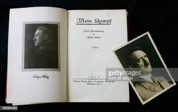 A signed copy of a first edition of Adolf Hitler's book Mein Kampf goes on display at Bloomsbury Auction House London 14 June 2005 The book is part...