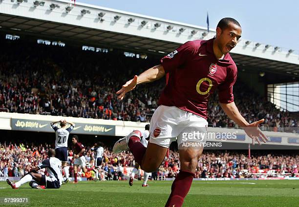 Arsenal's Thierry Henry reacts after scoring a late goal to equalise against Tottenham Hotspur during the Premiership football match at Highbury in...