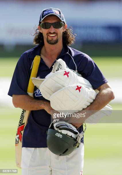 London, UNITED KINGDOM: Australian bowler Jason Gillespie arrives for training at Lords cricket ground in London 20 July 2005, on the eve of the...