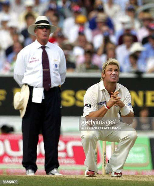 Australian bowler Shane Warne gestures as he bowls to England's Kevin Pietersen on the fifth day of the fifth and final NPower Ashes Test match at...