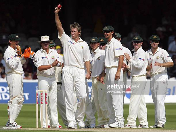 Australia's Glenn McGrath celebrates his 500th Test wicket on the first day of the first Test against England at Lords cricket ground in London 21...