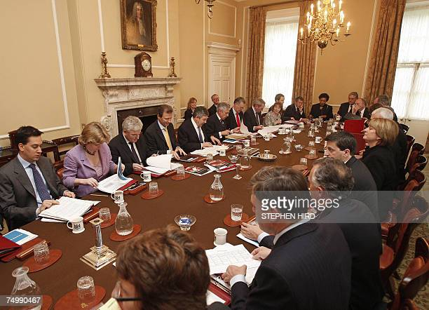 London, UNITED KINGDOM: Britain's Prime Minister Gordon Brown chairs the weekly Cabinet meeting in 10 Downing Street, in central London, 03 July...