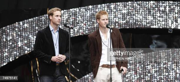 "London, UNITED KINGDOM: Britain's Princes William and Harry speak on stage at Wembley Stadium in London at the start of the ""Concert for Diana"", held..."