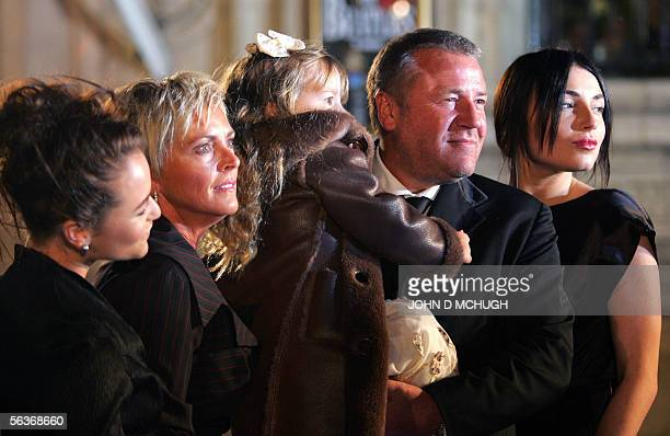 British actor Ray Winstone who voices the part of Mr Beaver arrives with his family at the world premiere of The Lion The Witch and The Wardrobe in...
