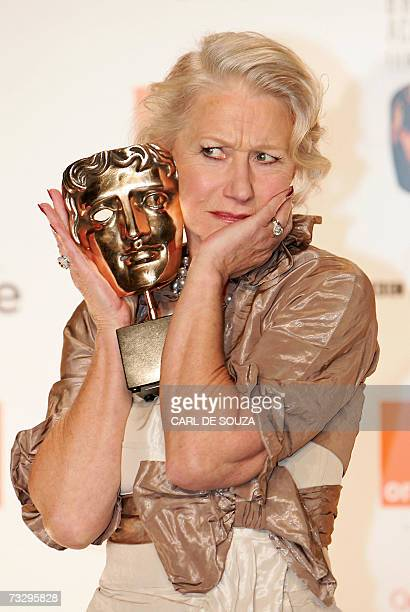 British actress Helen Mirren poses with the award for 'Best Actress In a Leading Role' for the film 'Queen' during the British Academy of Film Awards...