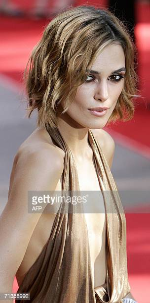 London, UNITED KINGDOM: British Actress Keira Knightley arrives 03 July 2006 at the Leicester Square Odeon cinema London for the UK premier of...