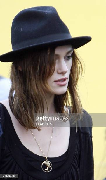 British actress Keira Knightley walks towards the main stage at the O2 Wireless Festival in Hyde Park London 16 June 2007 The festival is now in it's...
