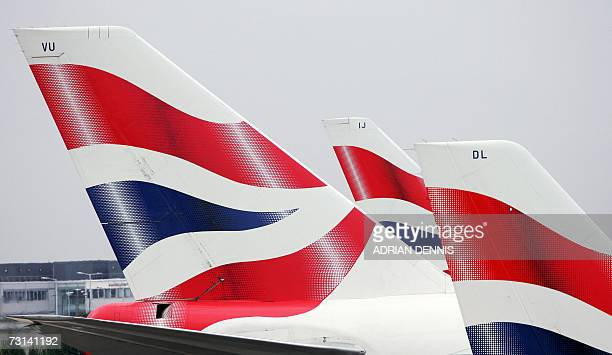 British Airways aircraft are pictured parked outside Terminal 4 at Heathrow Airport west of London 29 January 2007 British Airways held lastditch...