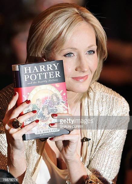 British author JK Rowling presents her novel 'Harry Potter and the Deathly Hallows' which goes on sale at midnight 20 July 2007 at the National...