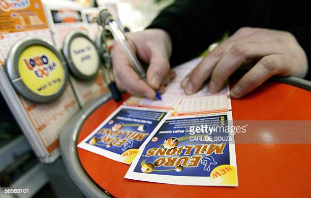 British Euro Millions lottery tickets are filled out at a newsagents in London 13 January 2006 The lottery rollover has resulted in a European...