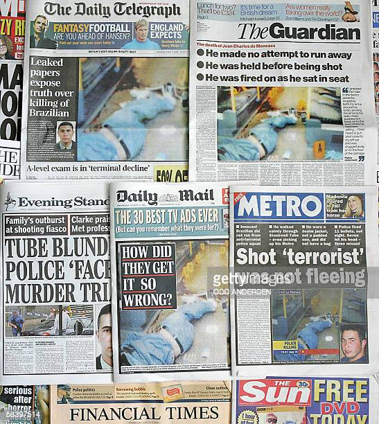 British newspapers front pages 17 August 2005 carry pictures of the body of Jean Charles de Menezes of Brazil lying in a London Underground train...