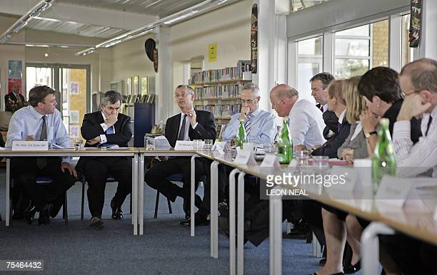 London, UNITED KINGDOM: British Prime Minister Gordon Brown and Secretary of State for Education Ed Balls attend the first meeting of the National...