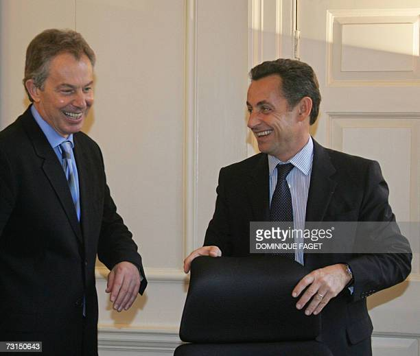 London, UNITED KINGDOM: British Prime Minister Tony Blair meets with French right-wing presidential candidate Nicolas Sarkozy at 10 Downing Street in...