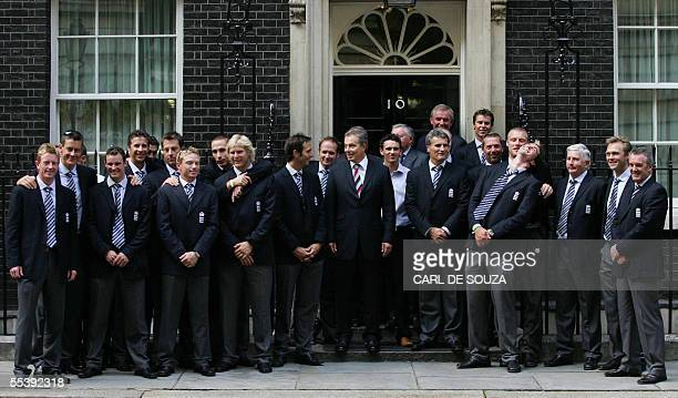 British Prime Minister Tony Blair poses for the media with the England Cricket team at no 10 Downing St London 13 September 2005 The England Cricket...