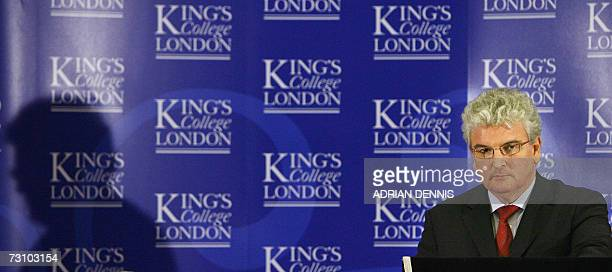 British Secretary of State for Defence Des Browne addresses a keynote speech on the 'Future of the UK's Nuclear Deterrent' at Kings College in London...